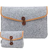 """RAINYEAR 13.3"""" Felt Laptop Sleeve Briefcase Cover With Small Case for Charger and Mouse, for 13-13.3 Inch Macbook Air Pro Notebook Ultrabook Tablet Lenovo HP Acer Asus Dell Thinkpad(Lightgray)"""