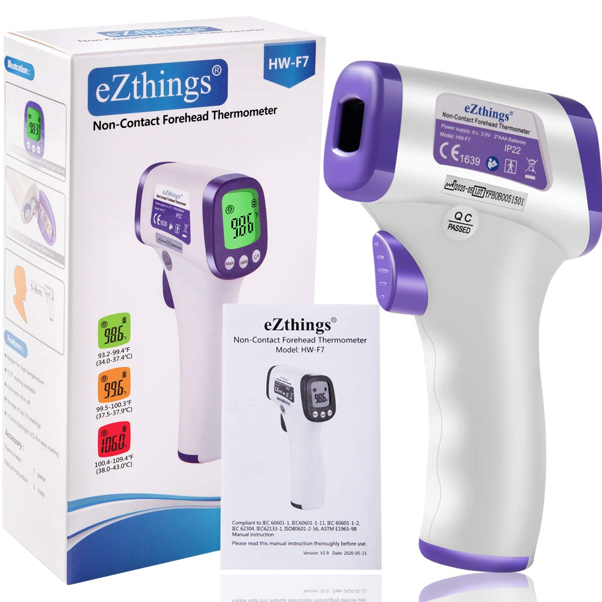 Heavy Duty LCD Display Non-Contact Infrared Forehead Thermometer for Medical Offices, Hospitals