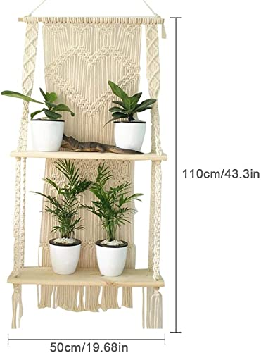 Per Trade Macrame Wall Hanging Shelf, Double Layer Wood Floating Plant Shelf, Swing Rope Floating Shelf, Handmade Boho Home Wall Decor, Hand-Knitted Tapestry for Balcony, Cafe Shop