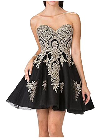 The Peachess Juniors Gold Lace Applique Short Quinceanera Homecoming Dresses Size 0
