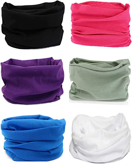 Dust Hat for Wind Outdoors 6PCS Multifunctional Headwear Magic Face Scarf Neck Gaiter Bandana Headband Balaclava Tube Breathable Headwrap Neckwarmer Hood Sports
