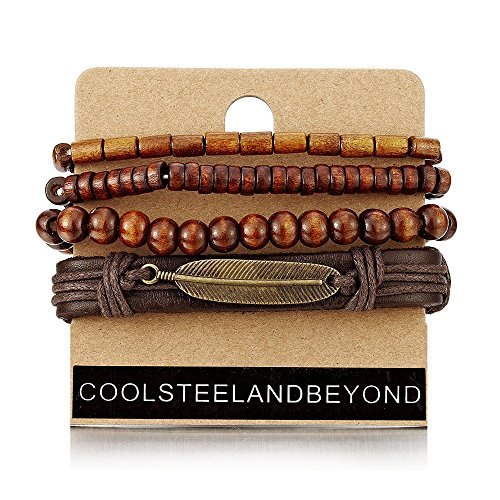 COOLSTEELANDBEYOND 4 Brown Wrap Bracelets for Men Women, Multi-Strand Wood Beads Leather Wristbands with Feather Charm