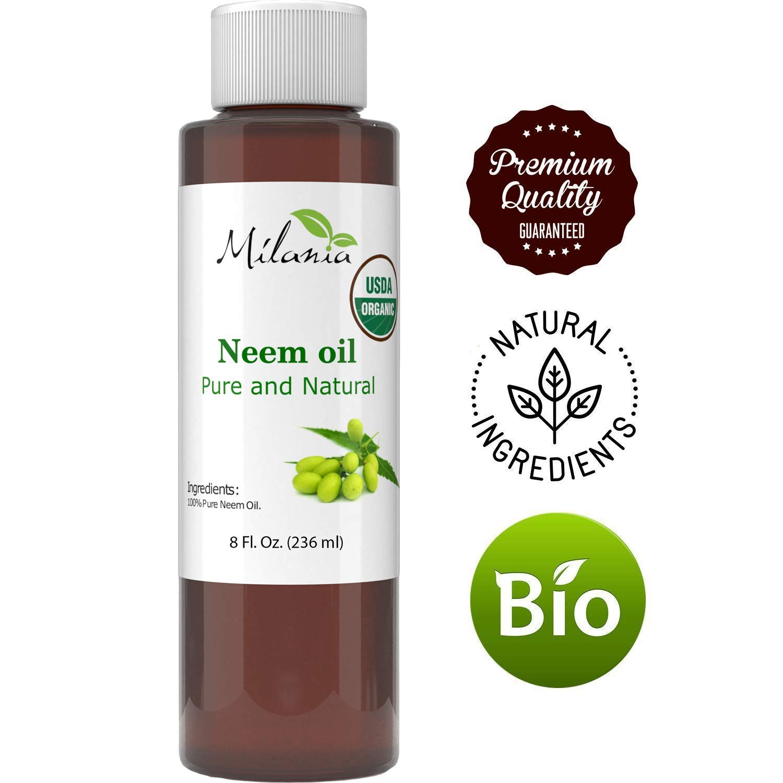 Certified Organic Neem Oil Virgin, Cold Pressed, Unrefined 100% Pure Grade A. (8 Fl. Oz)