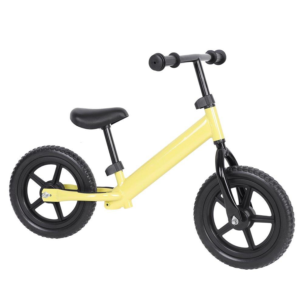 12 Kids Sport Balance Bike Pre-Schooler Bike Adjustable Handlebar Seat (Yellow)