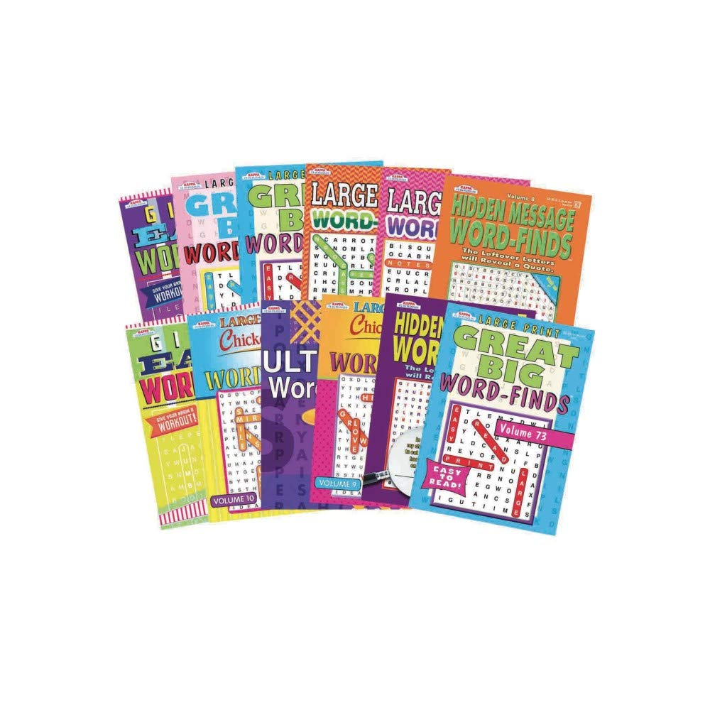 Kappa books Publisher, LLC Word Find Puzzle Book Set (Pack of 12)