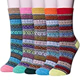 5 Pack Womens Thick Knit Warm Casual Wool Crew Winter Socks (Mix color 8)