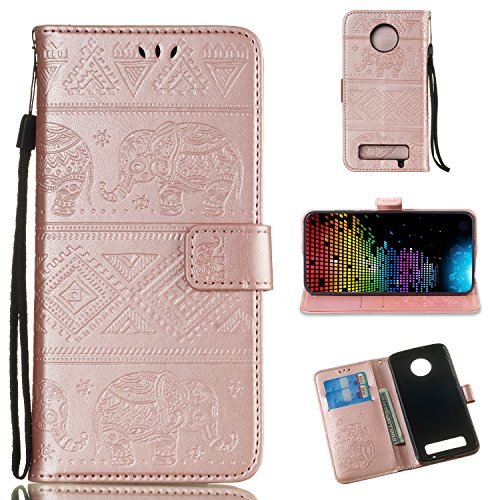- DAMONDY Moto Z3 Play Case, Elephant Embossed Flowers PU Leather Magnetic Flip Cover Stand Card Holders & Hand Strap Wallet Purse Case for Motorola Moto Z3 Play-rose gold