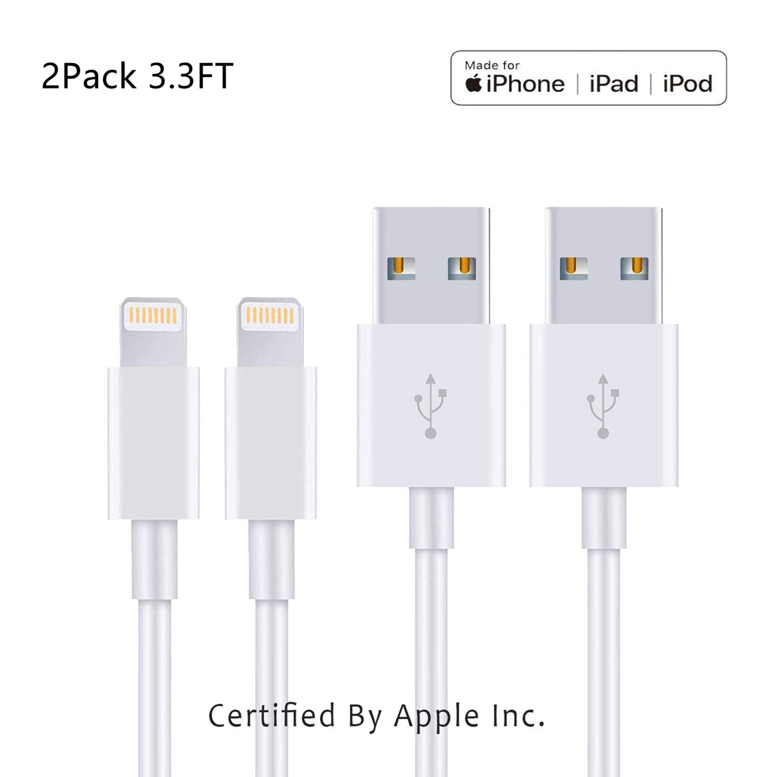 Apple iPhone/iPad Charging/Charger Cord Lightning to USB Cable[Apple MFi Certified] Compatible iPhone X/8/7/6s/6/plus/5s/5c/SE,iPad Pro/Air/Mini,iPod Touch(White 1M/3.3FT) Original Certified (2 Pack)