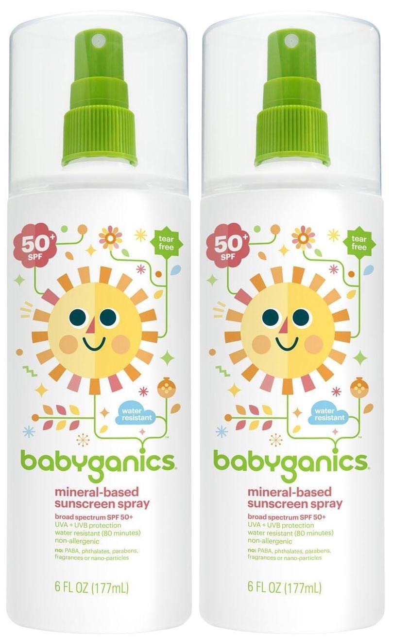 Babyganics Mineral Based Sunscreen Spray - SPF 50+ - Fragrance Free - 5.98 oz - 2 pk by Babyganics