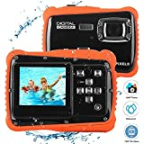 Ocamo 12MP 2 Inch LCD Display Children HD Digital Camera Underwater 3M Waterproof Action Camera Camcorder red