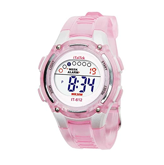 Sannysis® Moda Niños Niñas natación deportes digital impermeable reloj de pulser - rosa: Amazon.es: Relojes