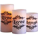Collections Etc LED Live Love Laugh Candles - Set of 3