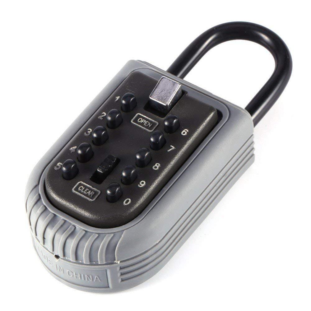 AMRIU Key Lock Box Storage Combination Realtor Key Safe Box Push Button Set Your Own Combination Padlock Security Key Lock Box for Home Garage School Spare House Keys,2-Key