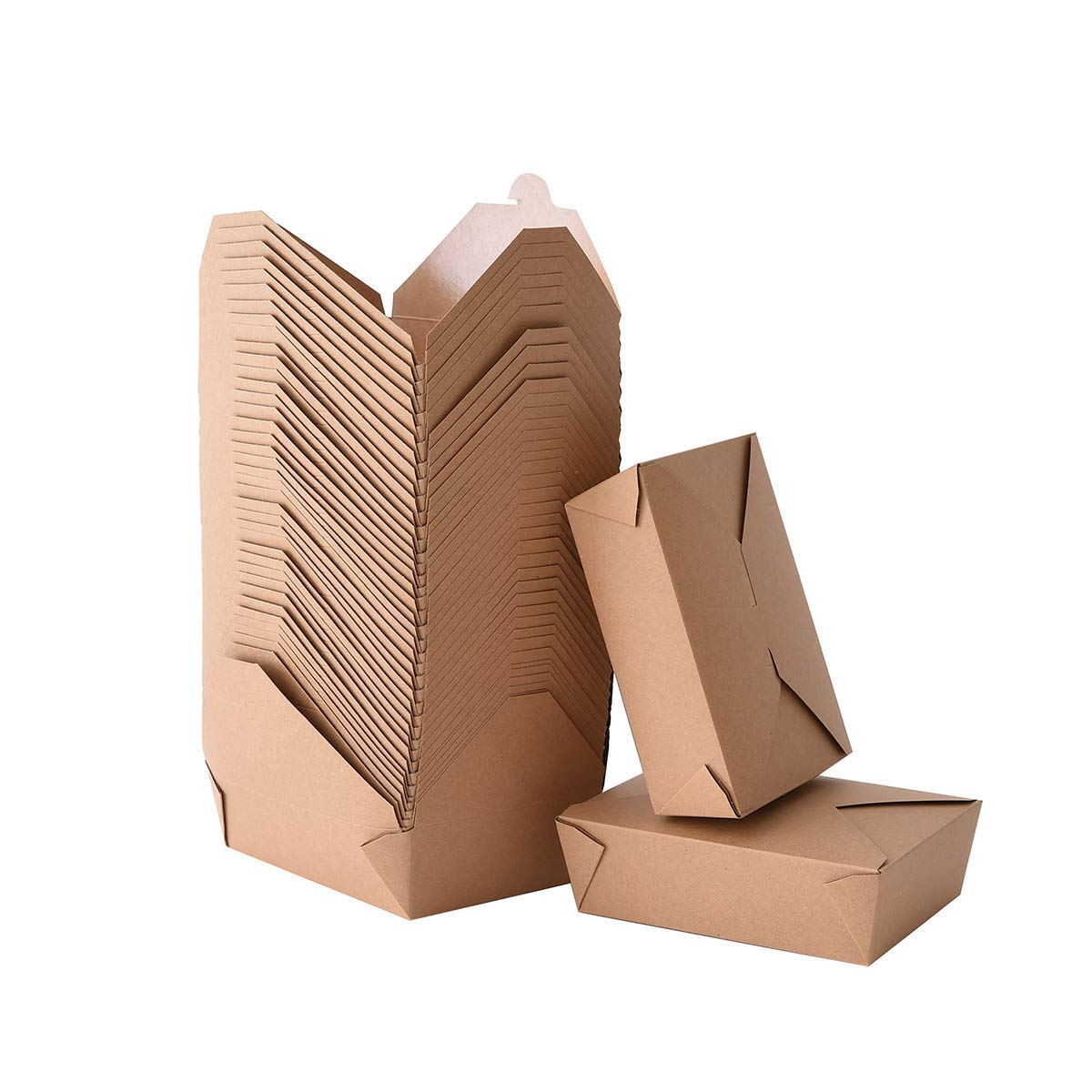 Take Out Boxes 71 Oz Chinese Take Out Containers 40 Pack Microwaveable Folding Natural Kraft Food Boxes for Food Take Out Boxes Ideal Leak and Grease Resistant Food Containers for Restaurants,Parties