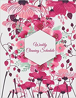 Weekly cleaning schedule cute pink flowers household chores list turn on 1 click ordering for this browser mightylinksfo