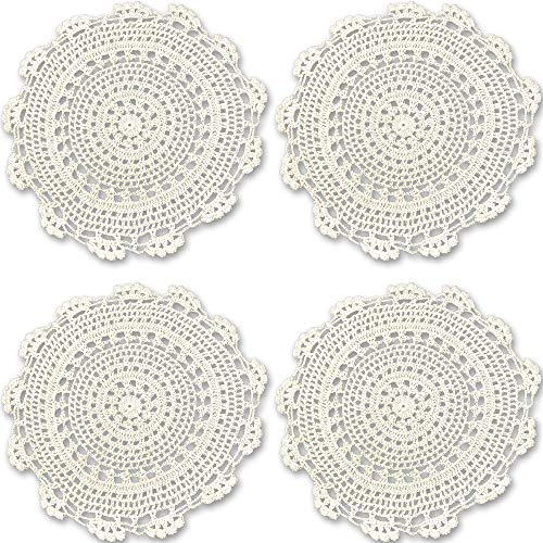 Rusoji Handmade Round Crochet Cotton Lace Table Placemat Coaster Doilies, Pack of 4, Beige, 11 x 11 inch ()