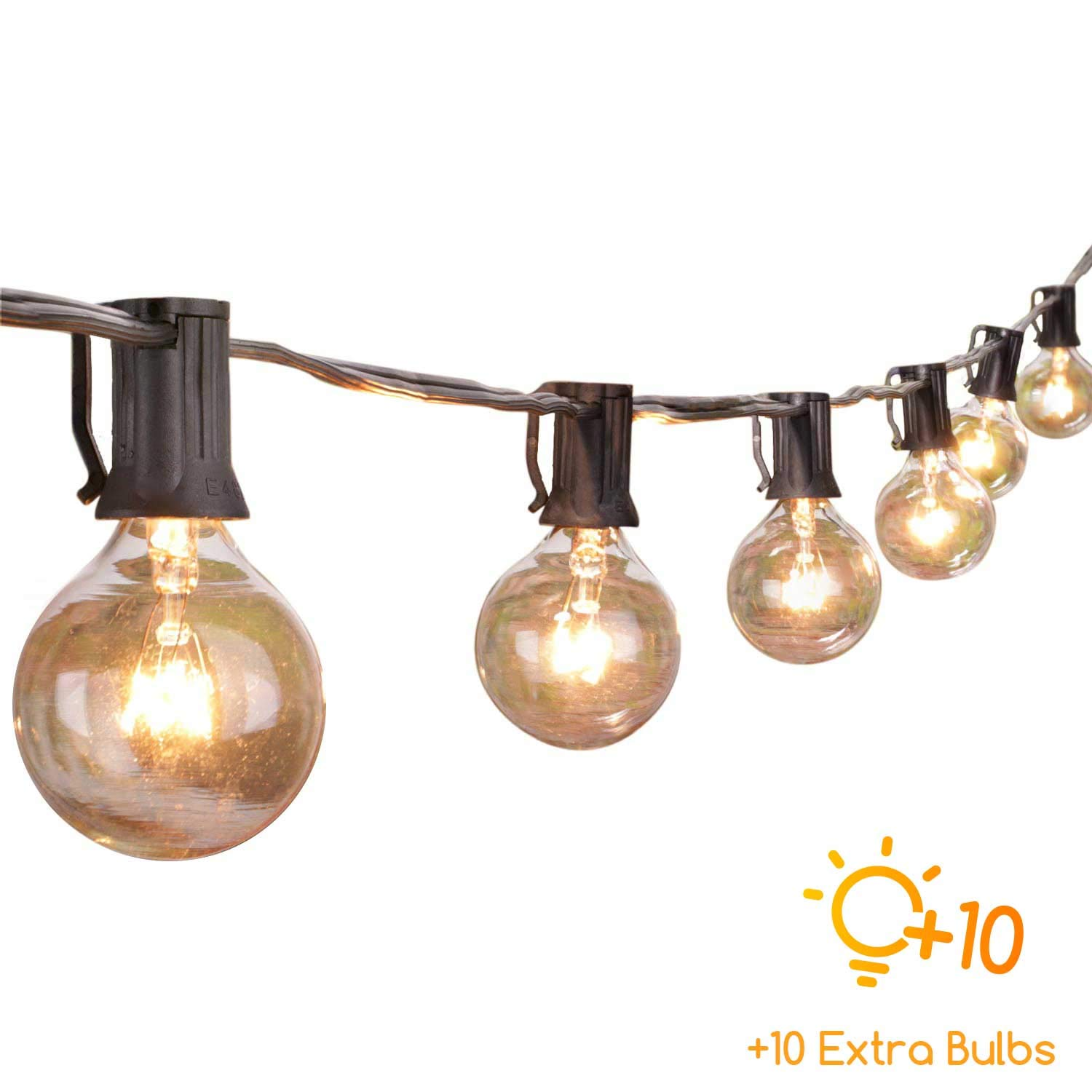 50 Ft. Globe String Lights with 60 G40 Clear Blubs (10 Extra), UL listed Indoor/Outdoor Hanging Lights for Patio Backyard Porch Deck Gazebo Garden Cafe party Decor, Black