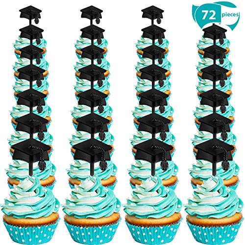 Graduation Cupcake Toppers Plastic Graduation Food Toothpick Toppers Appetizer Picks for 2019 Graduation Party Supplies (72)