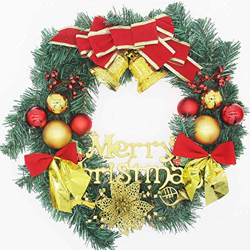 H&W Large Christmas Wreath (15.8 Inch / 40 cm) for Front Door Wall Windows Artificial Poinsettia Xmas Decoration with Tinkle Bell Bowknot and Small Ornaments (MC7-D1)