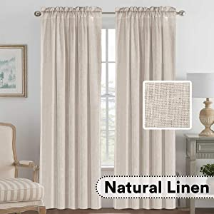 "H.VERSAILTEX Elegant Natural Linen Blended Energy Efficient Light Filtering Curtains/Rod Pocket Window Treatments Panels/Drapes for Livingroom (Set of 2, Angora, 52"" x 96"")"