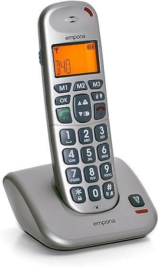 Emporia D40 - Teléfono inalámbrico DECT (pantalla LCD, control por manos libres y modo ECO), color plateado: Amazon.es: Electrónica