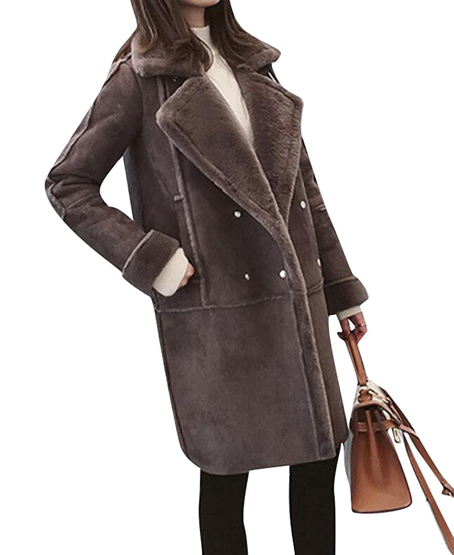 KLJR-Women Thicken Faux Suede Long Coat with Shearling Jacket