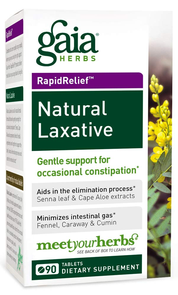 Gaia Herbs  Natural Laxative Tablets, 90 Count (Pack of 2) - Support for Constipation, Minimizes Intestinal Gas by Gaia Herbs