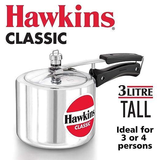 Hawkin Classic CL15 1.5 litros olla a presión de aluminio nuevo mejorado, pequeño, Plata 3-Litre plata