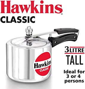 HAWKINClassic CL3T 3-Liter New Improved Aluminum Pressure Cooker, Small, Silver
