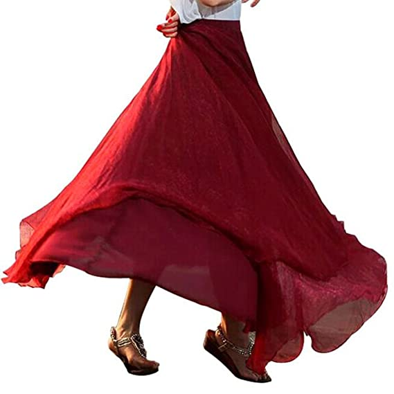 SEWORLD 2018 Elegant Frauen Elastisches Taillen Chiffon Langes Maxi Strand  Kleid Vintage Retro Reifrock A- e64c57d324