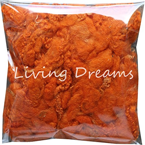 Felting Wool with Curly Locks for Needle Felting, Spinning, Doll Hair and Waldorf Crafts - Tangerine by Living Dreams Yarn