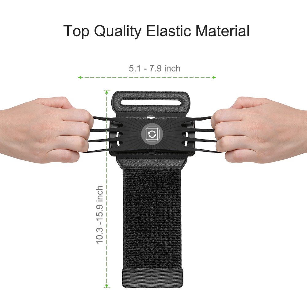 VUP Cell Phone Holder Wristband for iPhone X 7/7 Plus 8/8Plus 6/6S Plus, Galaxy S8/S9 S7 Edge Note 8, Nexus 6P 180° Rotatable Universal for 4.0''-5.8'' Mobile Phone Hiking Walking Running Armband by VUP (Image #6)
