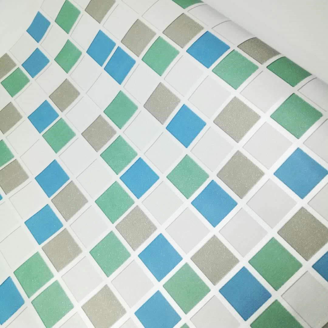 DooXoo 44x200cm Kitchen PVC Aluminum Foil Self-adhensive Mosaic Stickers Oil Wallpaper Wall Stickers Bathroom Mirror Waterproof Wall Sticker (Blue) AHGRD015218