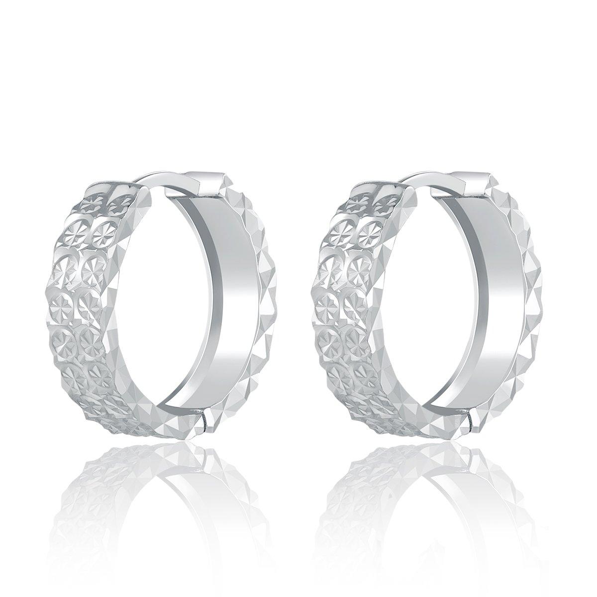 MaBelle 14K White Gold Two Diamond-Cut Thick Band Huggie Hoop Earrings (Diameter 0.6'')