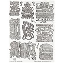 Hot Off The Press Acrylic Stamps in 6-Inch by 8-Inch Sheet, Christmas Cheer
