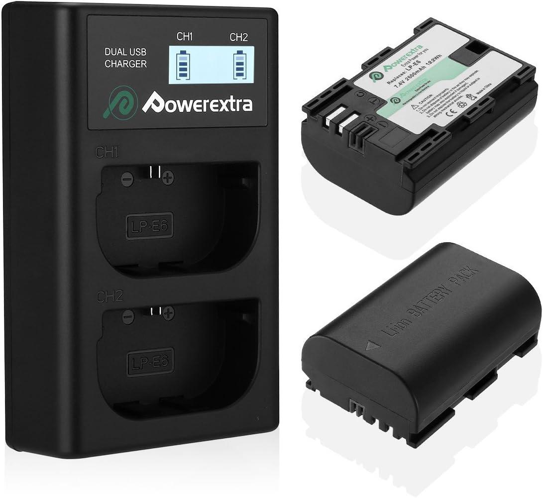 Powerextra Batería de Repuesto para Canon LP-E6 y LP-E6N con Cargador Pantalla LCD USB para Canon EOS 80D 6D 7D 70D 60D 5D Mark III 5D Mark II BG-E14 BG-E11 BG-E9 BG-E7