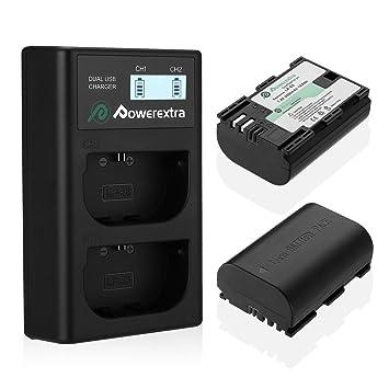 Powerextra Batería Canon LP-E6 y LP-E6N con Cargador Pantalla LCD USB para Canon EOS 80D 6D 7D 70D 60D 5D Mark III 5D Mark II BG-E14 BG-E11 BG-E9 ...