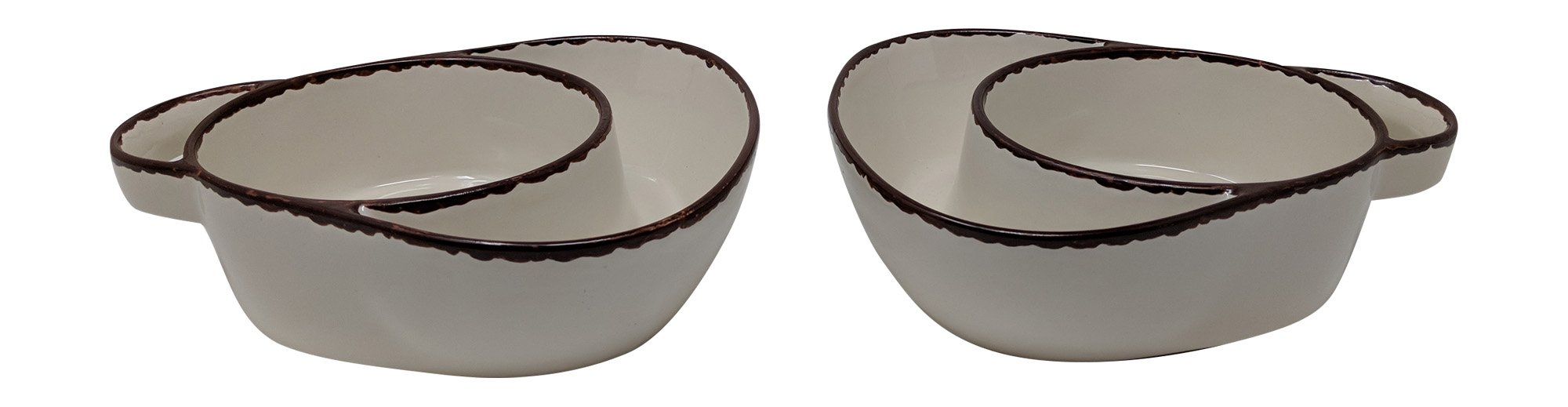 Gianna's Home Set of 2 Rustic Farmhouse Country Stoneware Distressed Soup and Side Chip and Dip Bowls With Handles (Ivory)
