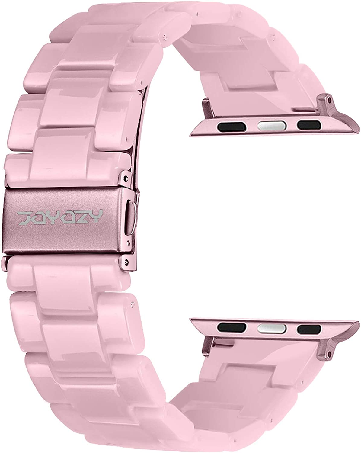 Joyozy Compatible with Apple Watch Bands 38mm 40mm 42mm 44mm, Resin Wristbands Replacement for iWatch SE& Series 6/5/4/3/2/1 for Women Men Gift Fashion Bracelet-(42mm/44mm, Pink-tone)