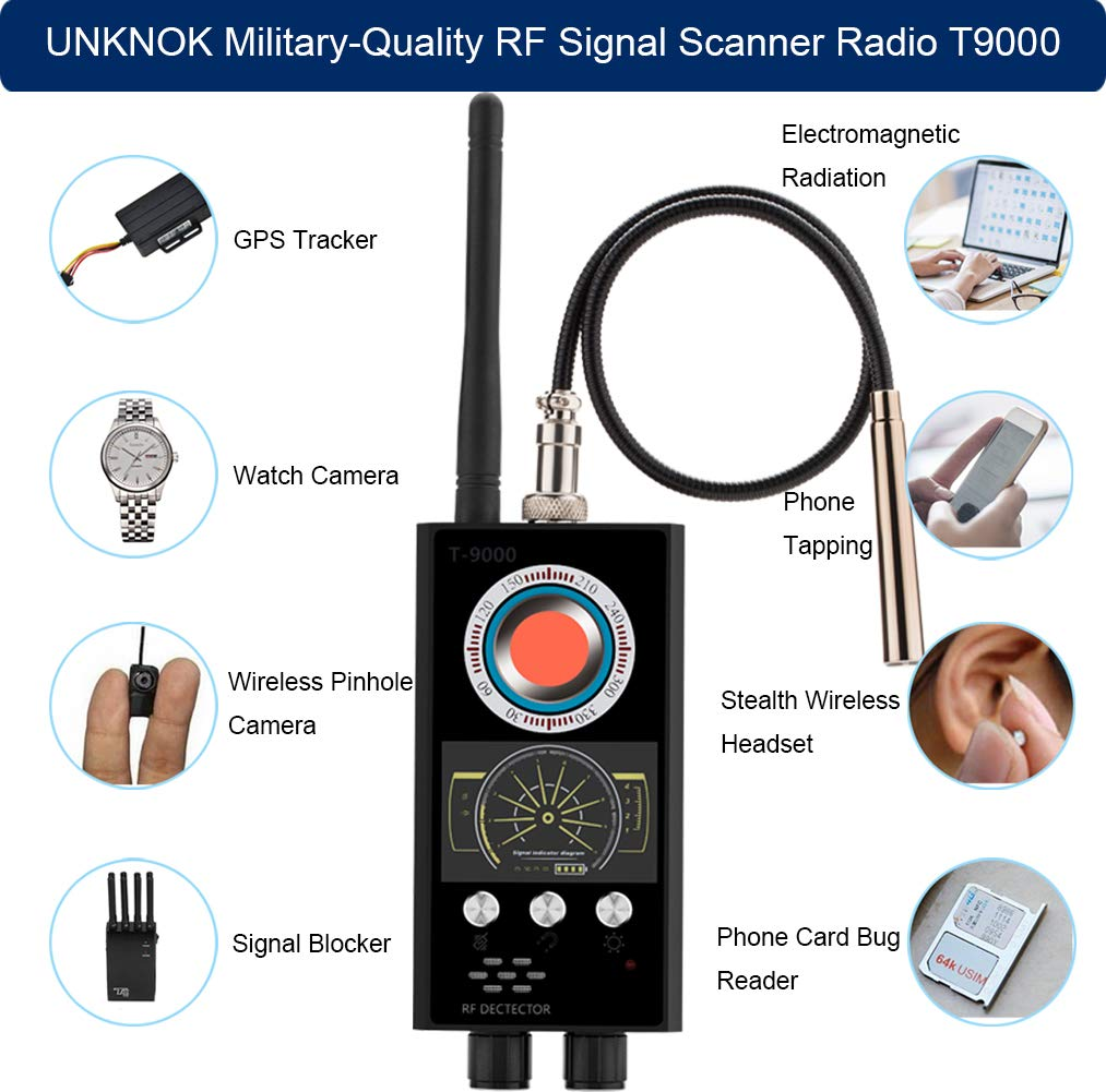 Hidden Camera Detector, UNKNOK Military-Quality Bug Detector [Anti-Spy][Ultra-high] RF Signal, Radio Frequency, GPS Detector Anti Spy Camera Finder Bug Sweaper Scanner Detection Device by UNKNOK