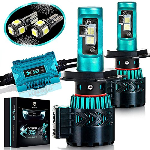 Glowteck LED Headlight Bulbs Conversion Kit - H4(9003) CREE XHP50 Chip 12000 Lumen/Pair 6K Extremely Bright 68w Cool White 6500K For Bright & Greater Visibility 2 Year ()