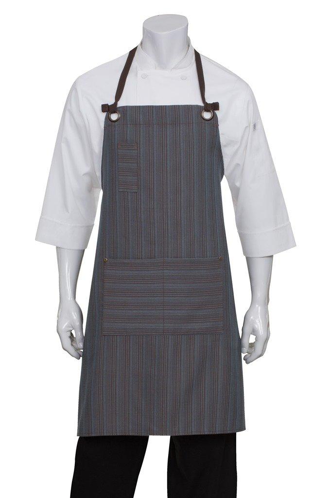 Chef Works Unisex Brooklyn Bib Apron, Blue/Chocolate, One Size Chef Works Apparel AB028-BUC-0