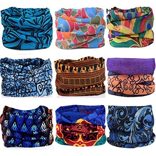 Kalily 9 Pack Headband Bandana UV Protection Seamless Breathable Neck and Head Tube Gaiter