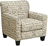 Cheap Ashley Furniture Signature Design – Rendenn Accent Chair – Contemporary Side Chair – Tan with Charcoal Script Pattern