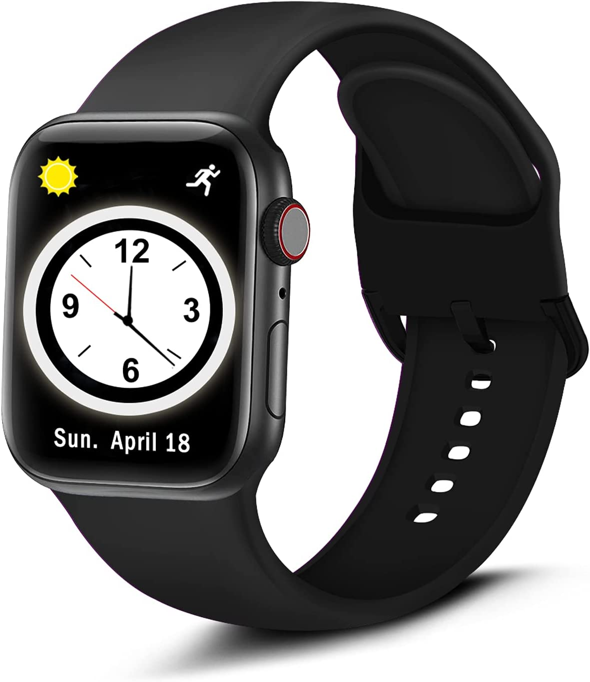 Brigtlaiff Compatible with Apple Watch Band 38mm 40mm 42mm 44mm, Soft Silicone Sport Replacement Women Men Wristband Strap with Unique Colors Clasp for iWatch Series 6 5 4 3 2 1 SE - 38mm 40mm, Black