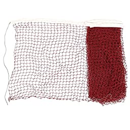 uxcell Nylon 6 x 0.7M White Trim Burgundy Braided Mesh Badminton Training Net