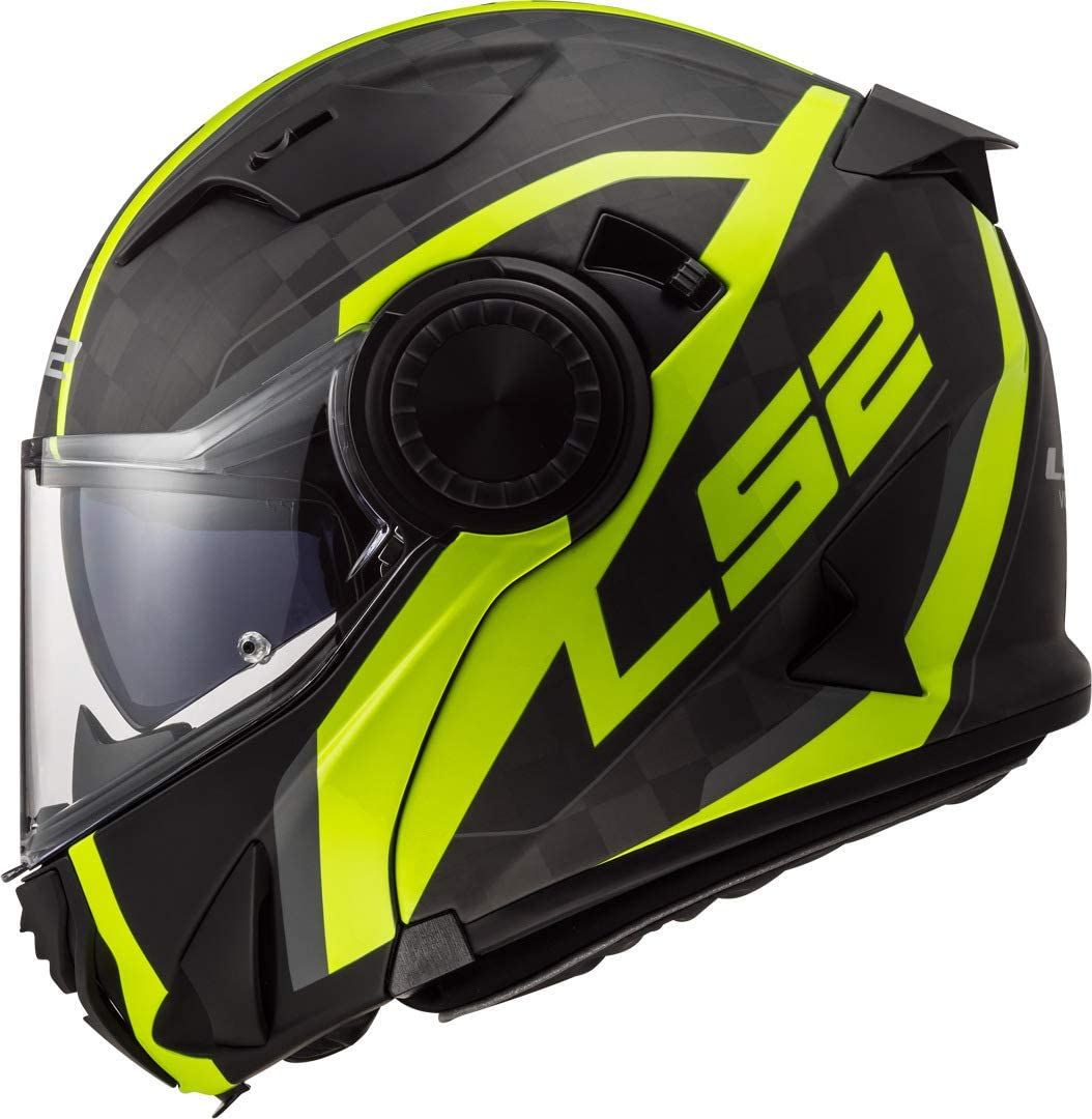 LS2 Casco Moto FF313 VORTEX Frame Carbon Hi VIS Giallo S Nero//Giallo
