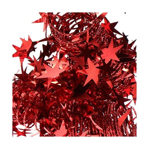 com-four® 4X Spirale Decorativa con Stelle - Ghirlanda di Stelle a Forma di Spirale per Natale - Ghirlanda Natalizia per Decorazioni per Alberi di Natale - 7,5 m ciascuna (Rosso - 4 Pezzi) 3 spesavip