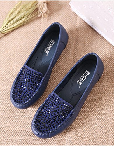 Di Black Donne New 4 Cuoio Delle Spring 37 Fall Blue Nvxie eur36uk354 Pelle Pattini Stoffa Comfort Genuino Antiscivolo Bottom 5 uk Singoli Festa Molle Work Eur Loafer 5 aIdqd