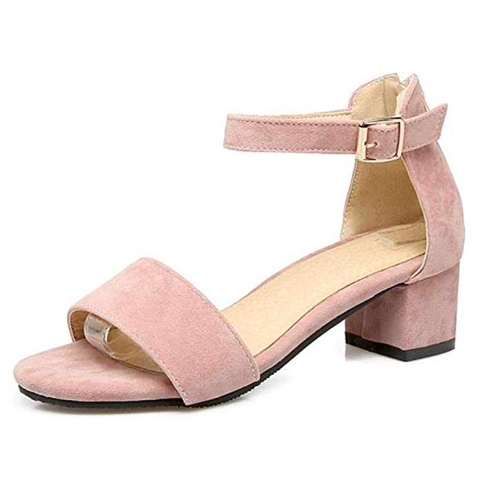 77c08acb830 SJJH Suede Materail Sandals with Low Chunky Heel and Large Size 12 UK  Available All Match Women Sandal Shoes  Amazon.co.uk  Shoes   Bags